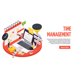 Time management planning schedule isometric banner vector