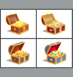Treasure box poster collection vector