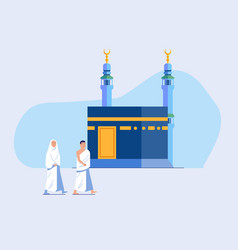 Two hajj pilgrimage walking across kaaba vector