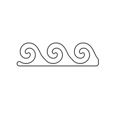 water wave black color path icon vector image