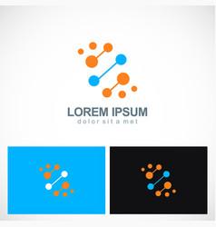 atom dna dot connect logo vector image