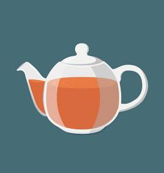 black tea hot drink teapot with golden brown tea vector image