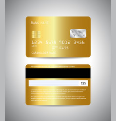 credit cards set with gold background design vector image vector image