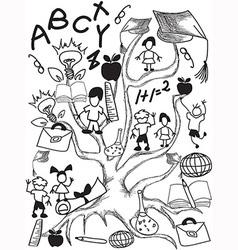 doodle school tree background vector image