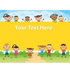 kids bunner around square banner vector image vector image