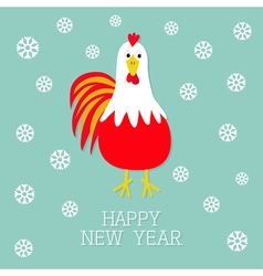 Red Rooster Cock bird Snow flake 2017 Happy New vector image vector image
