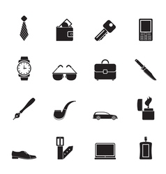 Silhouette man accessories icons and objects vector image vector image