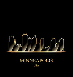 Gold silhouette of minneapolis on black background vector