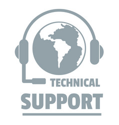technical support logo simple gray style vector image