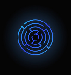 blue round maze icon vector image vector image
