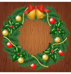 christmas garland on wood background vector image vector image