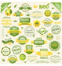 Collection Organic Food Eco Bio Labels vector image