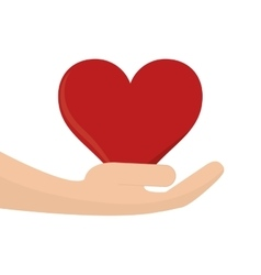 heart cartoon and holding hand icon vector image vector image