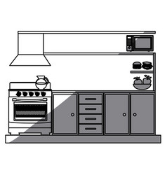 monochrome silhouette of lower kitchen cabinets vector image