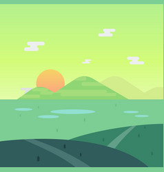 nature landscape in morning with sun and mountain vector image vector image