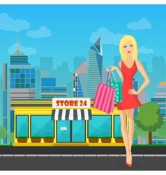 shopping woman girl with bags near Store in vector image vector image
