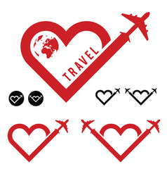 Travel love in heart icon set vector