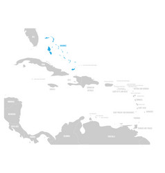 bahamas blue marked in the map of caribbean vector image vector image