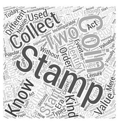 Bwcc stamp coin collecting word cloud concept vector