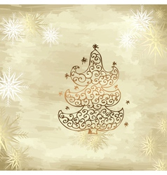 golden tree christmas vector image vector image