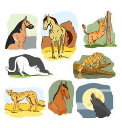 set of wild and home animals Hand drawn vector image