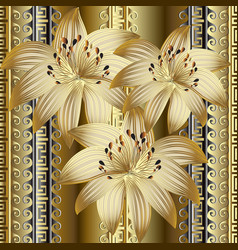 3d gold flowers seamless pattern vector