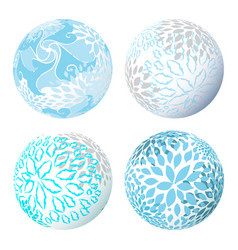 abstract 3d shape or sphere with flower vector image