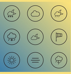 Air icons line style set with fog moonshine vector