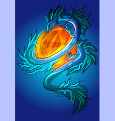 asian small dragon ice lizard monster vector image