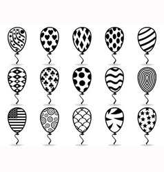 black pattern balloon icons vector image