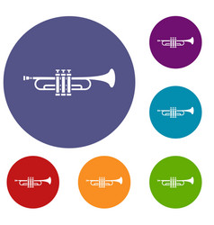 Brass trumpet icons set vector