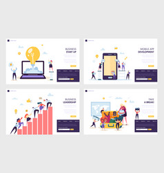 Business start up landing page set mobile app vector