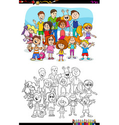 children and teen characters group color book vector image