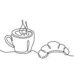 coffee cup and croissant continuous one line vector image