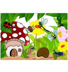 collection of cartoon insects in the garden vector image vector image