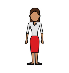 Colorful caricature image faceless brunette woman vector