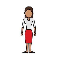 colorful caricature image faceless brunette woman vector image