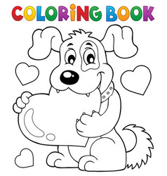 coloring book valentine dog theme 1 vector image