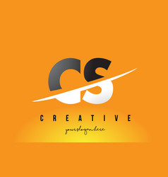 cs c s letter modern logo design with yellow vector image