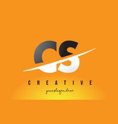 Cs c s letter modern logo design with yellow vector