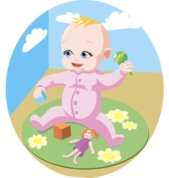 Cute baby play with the toys vector