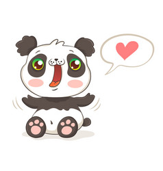 Cute panda in kawaii style vector