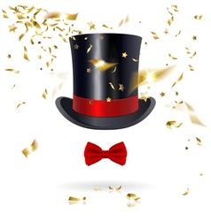 Cylinder Hat with Bow Tie and Confetti vector