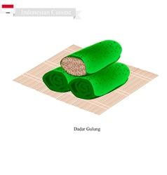 Dadar Gulung or Indonesian Sweet Coconut Pancake vector image