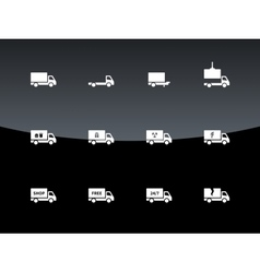 Delivery and cargo truck icons on black background vector image