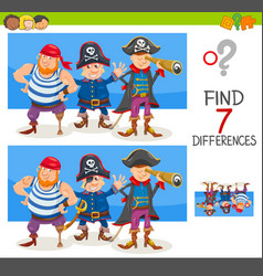 Differences game with pirate characters vector