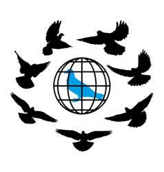 Doves silhouette against the background of globe vector