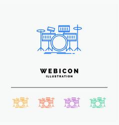 drum drums instrument kit musical 5 color line vector image