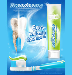 Extra whitening toothpaste realistic promo vector