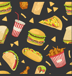fast food seamless pattern tasty unhealthy meals vector image
